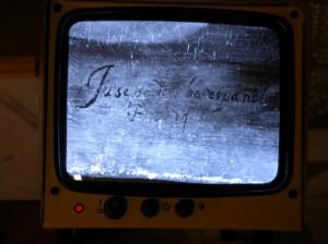 """""""Jusepe Rib[er]a"""". La firma de Ribera a la luz de infrarrojos."""